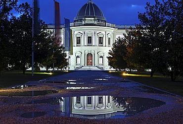 Night shot of the Musee Ariana museum, Swiss Museum of Ceramics and Glass, home of the International Academy of Ceramics, Geneva, Switzerland, Europe