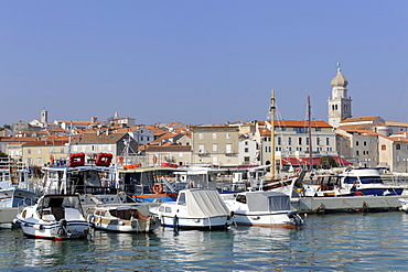 View over the marina to the town of Krk, Croatia, Europe