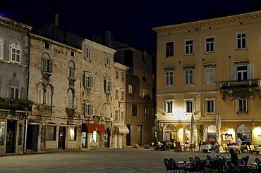 Forum Square at night, Pula, Croatia, Europe