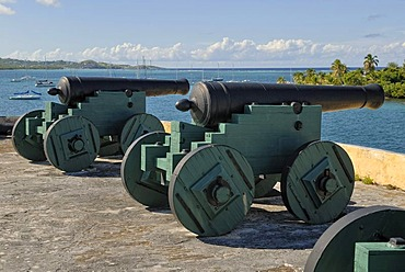 Historic cannons at Fort Christiansvaert, Christiansted, St. Croix island, U.S. Virgin Islands, United States