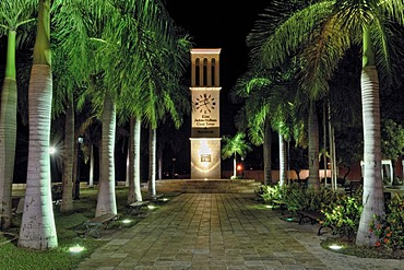 McBean Clock Tower with nocturnal illumination, Frederiksted, St. Croix island, U.S. Virgin Islands, United States