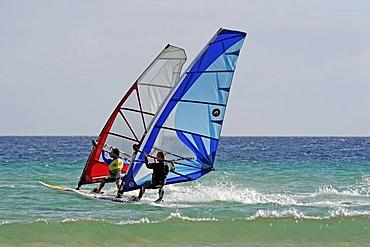 Windsurfers on the Playa de Sotavento de Jandia beach, Fuerteventura, Canary Islands, Spain, Europe