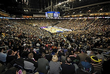 Basketball game of Alba Berlin in the interior of the O2 World, O2 Arena of the Anschutz Entertainment Group, Berlin Friedrichshain, Germany, Europe