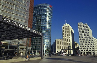 High-rise buildings at Potsdamer Platz, with metro station Potsdamer Platz, the Chrysler Building, the Sony Center, DB Tower and Beisheim Center with Ritz Carlton Hotel, Berlin Tiergarten, Berlin, Germany, Europe