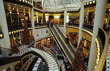 Quartier 206 shopping mall, interior with Christmas tree, luxury shopping at Christmas time, Friedrichstrasse, Mitte district, Berlin, Germany, Europe