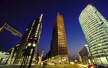 Skyscrapers on Potsdamer Platz square, Chrysler Building, Sony Center, DB Tower and Beisheim Center with Ritz Carlton Hotel, Tiergarten district, Berlin, Germany, Europe