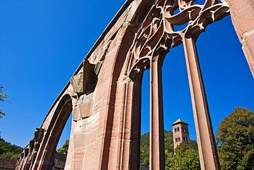 Hirsau Abbey, cloister with the Eulenturm, Owl Tower, Hirsau, Black Forest, Baden-Wuerttemberg, Germany, Europe