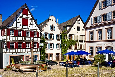Marketplace with town fountain, Schiltach, Black Forest, Baden-Wuerttemberg, Germany, Europe