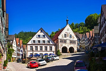 Marketplace with town hall, Schiltach, Black Forest, Baden-Wuerttemberg, Germany, Europe