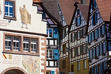 Half-timbered houses in the Staedtle town center, Schiltach, Black Forest, Baden-Wuerttemberg, Germany, Europe