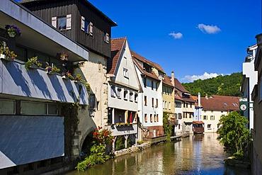 Little Venice, with Wassertor gate, Horb am Neckar, Black Forest, Baden-Wuerttemberg, Germany, Europe