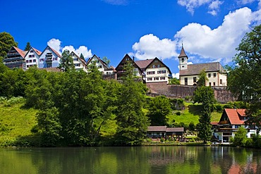 Town view with castle, Berneck, Black Forest, Baden-Wuerttemberg, Germany, Europe