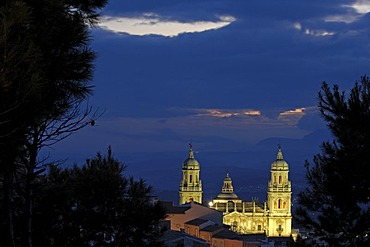 Cathedral at night, Jaen, Andalusia, Spain, Europe
