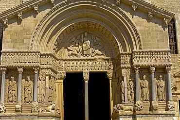 Saint Trophime cathedral at Place de la Republique, Arles, Bouches du Rhone, Provence, France, Europe