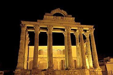 Ruins of Diana's temple at night, in the old Roman city Emerita Augusta, Merida, Badajoz province, Ruta de la Plata, Spain, Europe