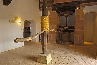 Prensa de Torre, Museo de la cultura del Olivo, museum on the cultural history of the olive tree, Puente del Obispo, Baeza, province of Jaen, Andalusia, Spain, Europe