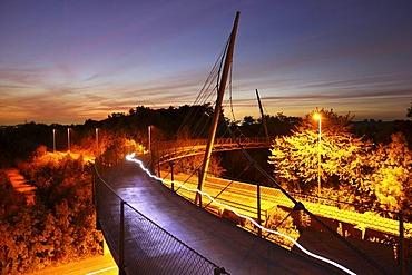 Erzbahnschwinge bridge in the Westpark in Bochum, Erzbahntrasse line, Ruhrgebiet region, North Rhine-Westphalia, Germany, Europe