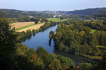 Ruhr Valley, the Ruhr River, between the districts Werden and Kettwig in the southern part of the city of Essen, with nature reserves, forest and fields, Essen, North Rhine-Westphalia, Germany, Europe