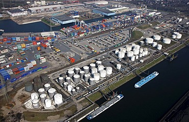 Duisport, port and logistics center, Ruhrort inland port on the Rhine river, largest inland port in the world, DeCeTe container terminal, transshipment of containers to ships, road and rail, tank farm on the Oelinsel island, Duisburg, North Rhine-Westphal