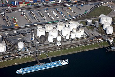 Duisport, port and logistics center, Ruhrort inland port on the Rhine river, largest inland port in the world, tank farm on the Oelinsel island, Duisburg, North Rhine-Westphalia, Germany, Europe