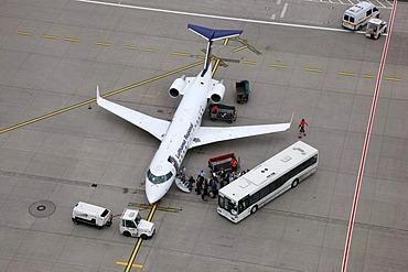 Duesseldorf International Airport, Lufthansa Regional plane on the tarmac, boarding passengers, Bombardier CRJ200, Duesseldorf, North Rhine-Westphalia, Germany, Europe