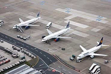 Duesseldorf International Airport, Lufthansa and Bluewings planes parked on the tarmac, Duesseldorf, North Rhine-Westphalia, Germany, Europe