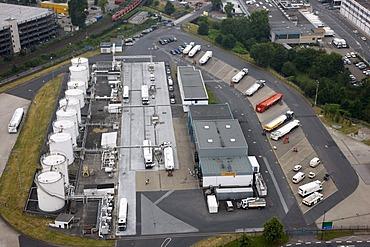 Duesseldorf International Airport, tank farm, station for filling tank trucks with gasoline, Duesseldorf, North Rhine-Westphalia, Germany, Europe