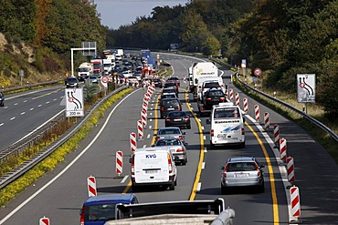 Traffic jam at the reduction of 3 to 2 lanes at a highway construction site on the A2 motorway, near Bielefeld, North Rhine-Westphalia, Germany, Europe