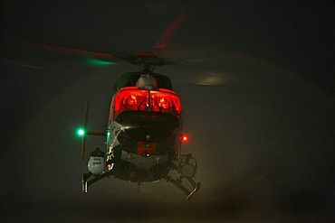 Patrol helicopter with night flying capability, image intensifier, infrared camera, night mission, police flying squadron NRW, Duesseldorf, North Rhine-Westphalia, Germany, Europe
