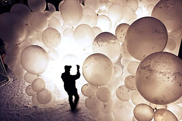 Art installation by the Raumlaborberlin, Soap Opera, many hundreds illuminated balloons at a mine shaft, GlueckAuf2010 cultural festival at the start of the European Capital of Culture year, on the site of the Zeche Zollverein mine and coking plant, Essen