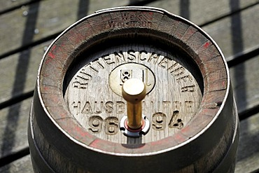 Wood beer keg in a small private brewery