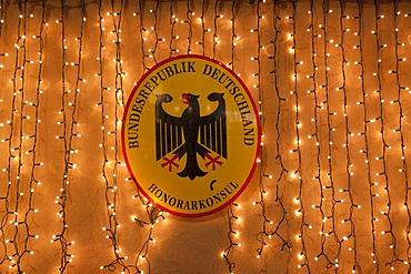 Sign of the Honorarkonsul Bundesrepublik Deutschland, German honorary consul at Christmas time, Innsbruck, Austria, Europe