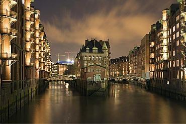 Speicherstadt old warehouse district, Hamburg, Germany, Europe