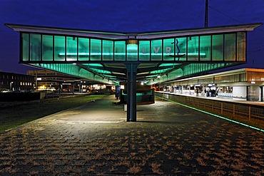 Platform with light installation, Museumsbahnsteig museum platform Oberhausen, Ruhrgebiet region, North Rhine-Westphalia, Germany, Europe