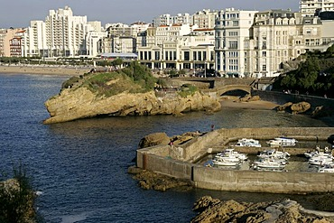 City waterfront with hotel, marina, Biarritz, Pyrenees-Atlantiques, Atlantic Coast, Aquitaine, France, Europe