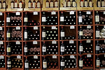 Wine shop display, St Emilion, Bordeaux, France, Europe