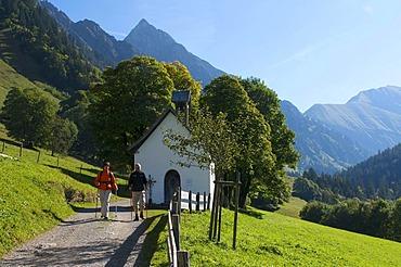 Gerstruben with Hoefats Mountains near Oberstdorf, Allgaeu, Bavaria, Germany, Europe