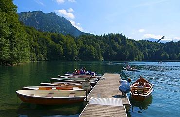 Freibergsee lake with Heini-Klopfer-Skiflugschanze ski flying hill, Oberstdorf, Allgaeu, Bavaria, Germany, Europe