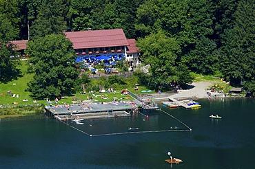 Lido Freibergsee lake near Oberstdorf, Allgaeu, Bavaria, Germany, Europe