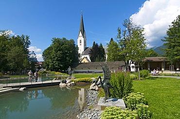 Spa Park and church in Oberstdorf, Allgaeu, Bavaria, Germany, Europe