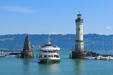 Harbor entrance at Lindau, Lake Constance, Bavaria, Germany, Europe