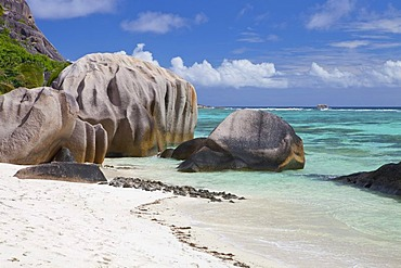 Typical granite rocks on Source a Jean beach, La Digue island, Seychelles, Africa, Indian Ocean