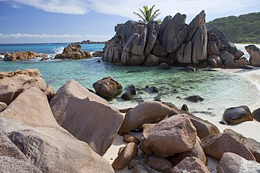 Sheltered cove at Anse Cocos, La Digue Island, Seychelles, Africa, Indian Ocean