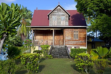 Wooden house by Eustache Sarde, built in the early 20th century, protected because of the typical construction, La Digue Island, Seychelles, Africa, Indian Ocean
