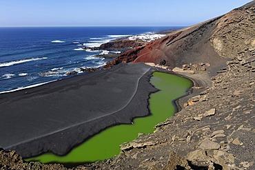 Lago verde, Green Lagoon, Charco de los Ciclos, El Golfo, Lanzarote, Canary Islands, Spain, Europe