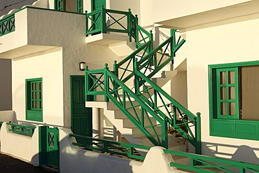 External staircase, typical residential building, orzola, Lanzarote, Canary Islands, Spain, Europe