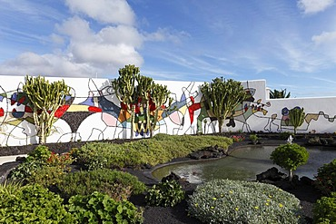 Fundacion Cesar Manrique, wall painting in the garden of Manrique's former residence in Teguise, Lanzarote, Canary Islands, Spain, Europe
