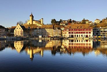View over the Rhine on the promenade of the historic town of Schaffhausen and the Munot fortress, canton of Schaffhausen, Switzerland, Europe