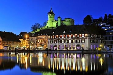 View over the Rhine on the promenade with the restaurant Gueterhof in the historic town of Schaffhausen and the Munot fortress, canton of Schaffhausen, Switzerland, Europe