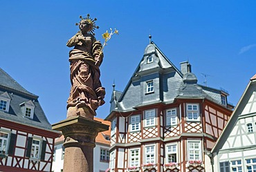 Statue, Old Market Square, Heppenheim, Hesse, Germany, Europe